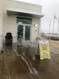 Retail store sidewalk cleaning